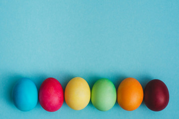 Row of pastel Easter Eggs