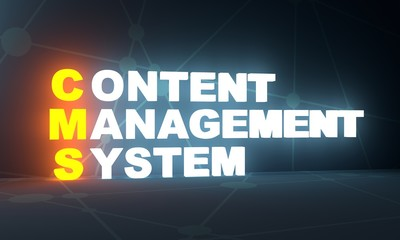 Acronym CMS - Content Management System. Business conceptual image. 3D rendering. Neon bulb illumination
