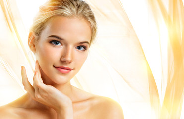 Attractive girl with perfect makeup. Youth and skin care concept