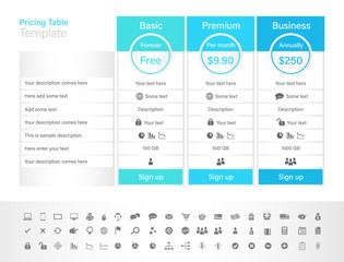 Pricing table with 3 plans and place for description. Blue header colour scheme.