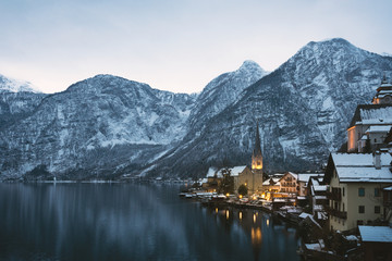 Hallstatt, Austria, on a winter evening