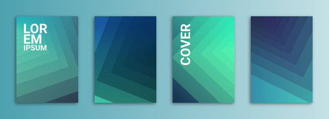 Abstract Background Cover / Flyer / Poster / Album Template Bundle - Blue / Cyan / Teal Geometric Gradient Shapes