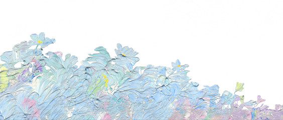 Abstract background as a floral pattern. Brush stroke. Natural texture of oil paint. High quality details.