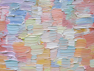 Colorful brush strokes as abstract painting background. Detailed oil paint texture.  Can be used  for web design, art print, textured fonts, figures, shapes, etc.
