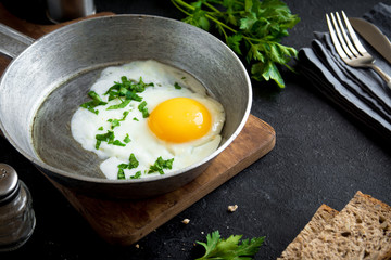 Fried Egg on Frying Pan for Breakfast