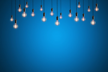 Vintage bulbs on color background - idea, innovation, teamwork and leadership concept. Space for text