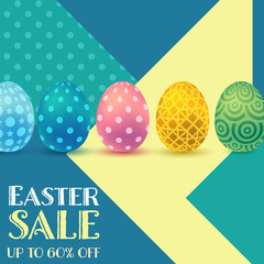 Happy Easter sale banner with geometric background