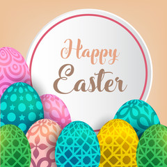 Happy Easter background template with beautiful camomiles and eggs