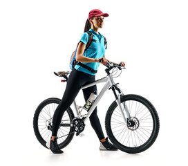 Cyclist in blue t-shirt with bike in silhouette on white background. Sport and healthy lifestyle