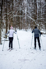Photo from back of sports woman and man skiing in winter forest