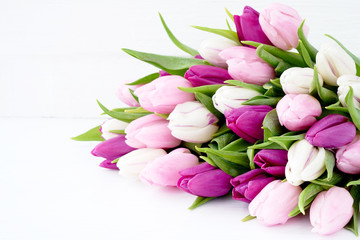 White and pink tulips on white wooden table. Holiday background, copy space