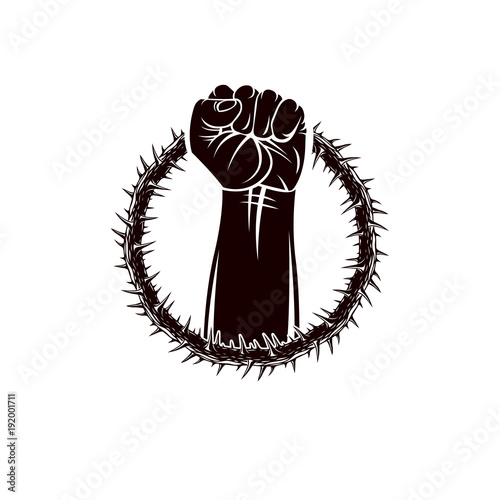 Vector Illustration Of Muscular Clenched Fist Of Strong Man Raised