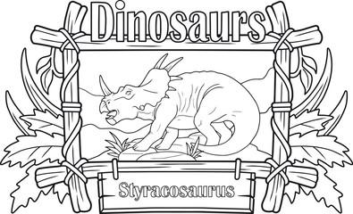 prehistoric dinosaur, styracosaurus, coloring book