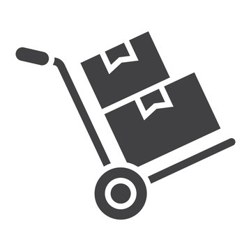 Hand truck with cardboard boxes glyph icon, logistic and delivery, hand dolly sign vector graphics, a solid pattern on a white background, eps 10.