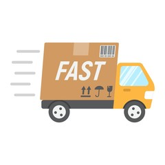 Fast shipping flat icon, logistic and delivery truck, carton box sign vector graphics, a colorful solid pattern on a white background, eps 10.