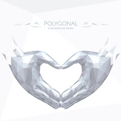 Love shape hands low poly white polygonal. Triangle 3D effect. Vector polygonal illustration.