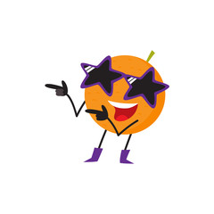 Funny orange fruit character in star-shaped glasses and cowboy boots having fun at party, cartoon vector illustration isolated on white background. Cartoon orange fruit character, party mascot