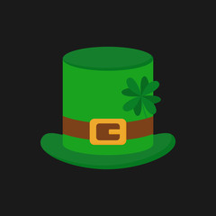 Leprechaun hat vector illustration, icon. St. Patrick's day green hat with four leaf clover, isolated on grey background.