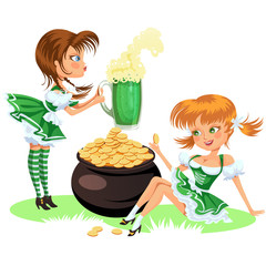 Saint patrick day characters, sexy girl in stockings and cylinder with irish symbol luck shamrock leaf, cartoon woman short green dress sits near pot full gold isolated on white vector illustration.