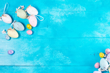 Easter eggs on bright blue background