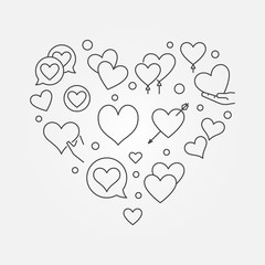 Valentines heart vector outline concept illustration