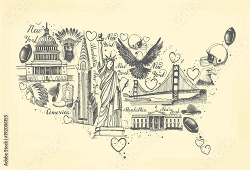 Sketches Of Symbols Of The Usa In The Form Of A Map Stock Image And