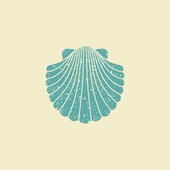 Sea shell. Flat vintage icon
