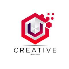 letter hexagonal pixel logo
