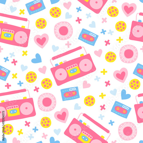 Seamless pattern with hearts, cartridge, player, cookies in