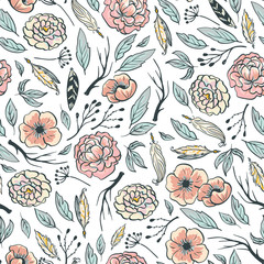 Boho floral design. Pink peonies, branches and feathers. Vector seamless pattern for fabric, wallpaper or wedding gift paper.