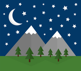 Mountain night landscape vector illustration flat design. Snow covered mountains with forest and grass, night sky with moon and stars.