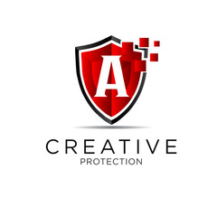 letter shield protection logo