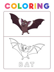 Funny Bat Coloring Book with Example. Preschool worksheet for practicing fine colors recognition skill. Vector Animal Cartoon Illustration for Children.