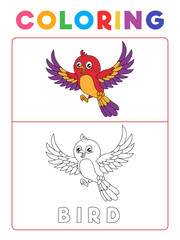 Funny Bird Coloring Book with Example. Preschool worksheet for practicing fine colors recognition skill. Vector Animal Cartoon Illustration for Children.
