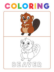 Funny Beaver Coloring Book with Example. Preschool worksheet for practicing fine colors recognition skill. Vector Animal Cartoon Illustration for Children.
