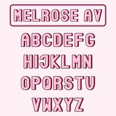 """Melrose Av"" pink alphabet, or typeface. Cool trendy font. Set of letters."