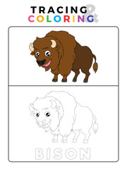 Funny Bison Tracing and Coloring Book with Example. Preschool worksheet for practicing fine motor and colors recognition skill. Vector Animal Cartoon Illustration for Children.