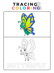Funny Butterfly Tracing and Coloring Book with Example. Preschool worksheet for practicing fine motor and colors recognition skill. Vector Animal Cartoon Illustration for Children.