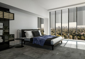 Modern bedroom with tiled floor and windows