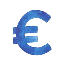 Euro. Watercolor illustration of the European Union currency symbol.