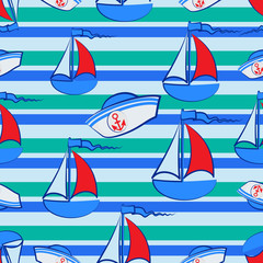 Sailors hat and the sailboat on a striped background. Seamless pattern. Concept of marine tourism, recreation, travel. Design for children's textiles
