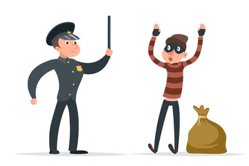 Caught thief surrender loot policeman character cartoon design vector illustration