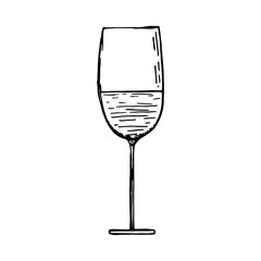 glass with wine vector sketch black isolated