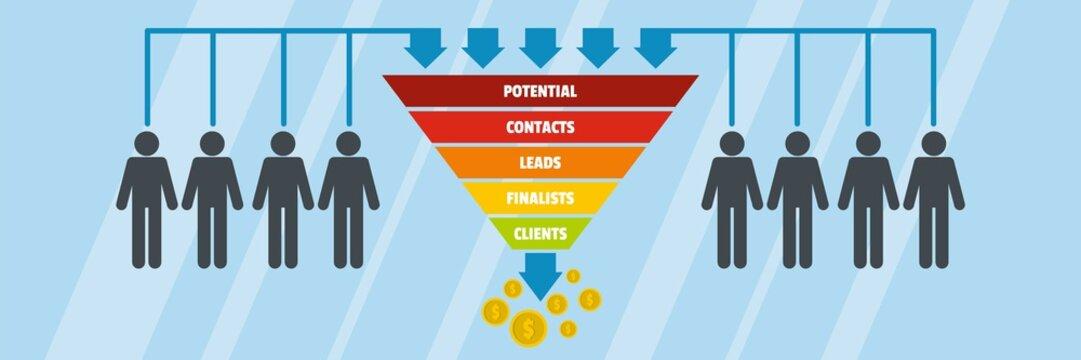 Funnel of sales banner. Flat illustration of funnel of sales vector banner for web
