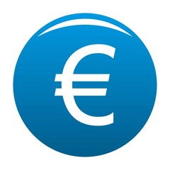 Euro symbol icon vector blue circle isolated on white background