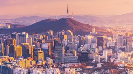 Sunset of Seoul City Skyline, South Korea. Wall mural