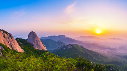 Sunrise of Bukhansan mountain in Seoul City, South Korea