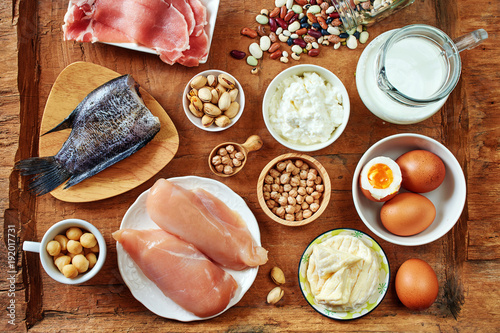 Top View Of High Protein Foods Dairy Eggs Fish And Meat Chickpea