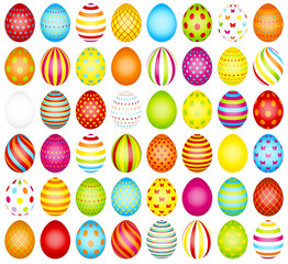 Big Set Colored Easter Eggs Pattern