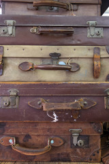 Stacked Up Vintage Used Suitcases